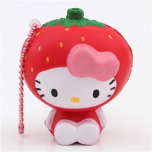Diy Squishy Hello Kitty : red Hello Kitty strawberry costume squishy charm - Food Squishy - Squishies - Kawaii Shop modeS4u