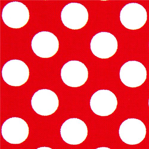 Red michael miller fabric white polka dots minnie dots for Red and white polka dot pattern