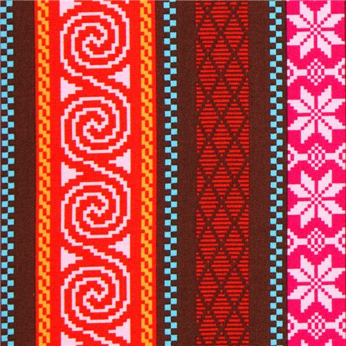 red Michael Miller stripes fabric with nordic patterns - Dots ...