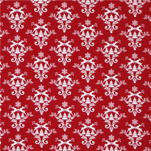 tissu de no l rouge motifs norv giens de rennes et neige. Black Bedroom Furniture Sets. Home Design Ideas