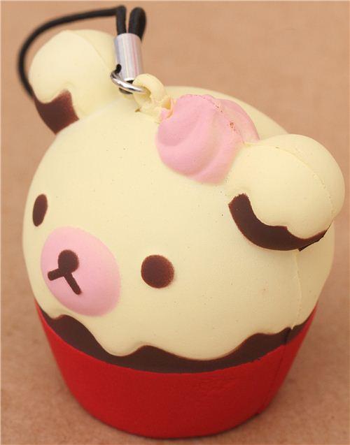 red Rilakkuma bear cupcake squishy cellphone charm - Food Squishies - Squishies - Kawaii Shop ...