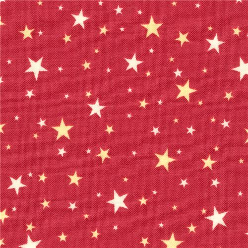 Red Robert Kaufman Small Off-white Star Fabric Sevenberry