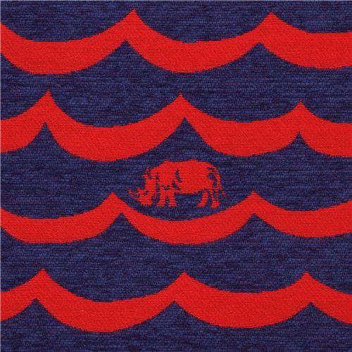 Red And Dark Blue Wave Pattern Rhino Animal Jacquard