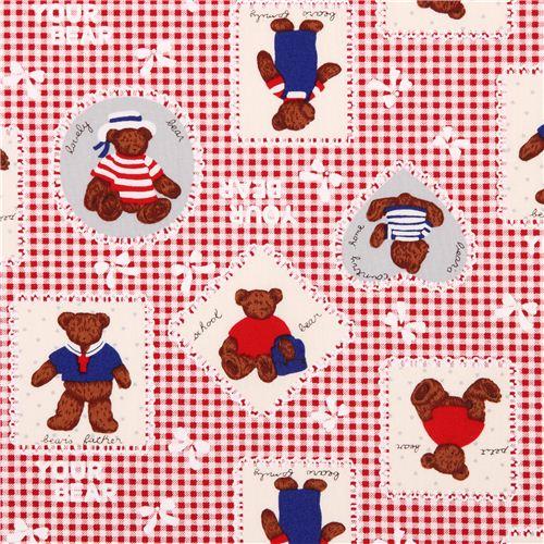 rot wei karierter teddyb r matrosen flicken stoff aus japan tierstoffe stoffe kawaii shop. Black Bedroom Furniture Sets. Home Design Ideas