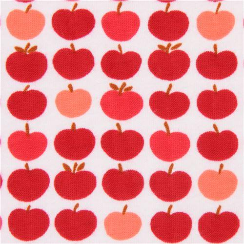 14b8cd02fa3 red apple Robert Kaufman off-white Laguna Jersey knit fabric - modeS4u