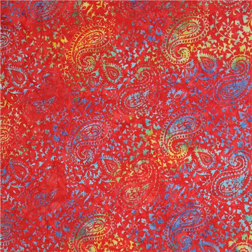 Red Batik Blue Lime Green Paisley Design Fabric By