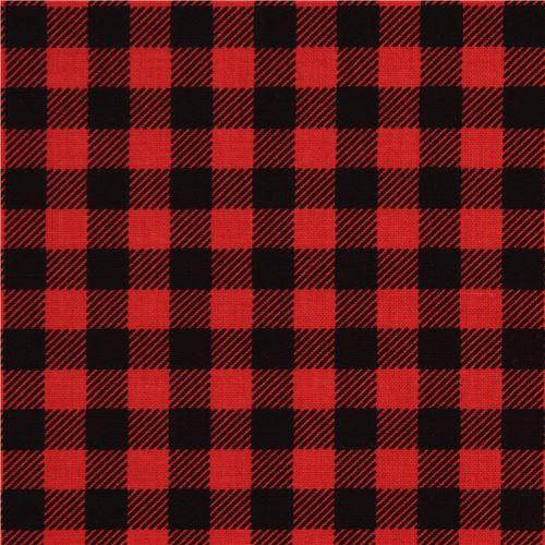Red Black Checkered Robert Kaufman Fabric Burly Beavers Modes4u