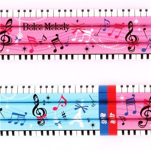 Lápiz Bicolor Minas Azul Y Roja Con Teclado De Piano Notas Musicales De Colores