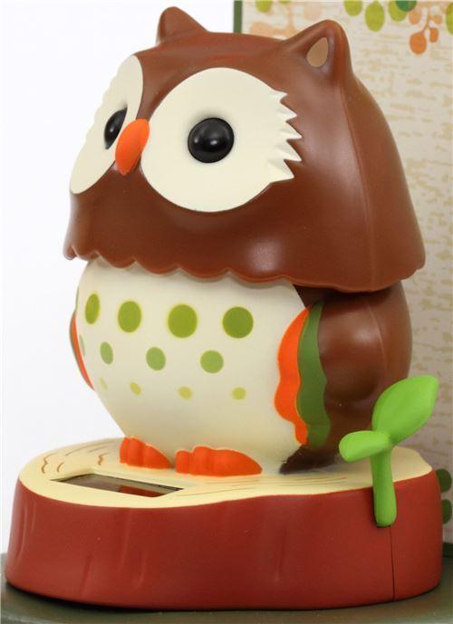 Red Brown Base Dark Brown Owl Solar Powered Bobble Head