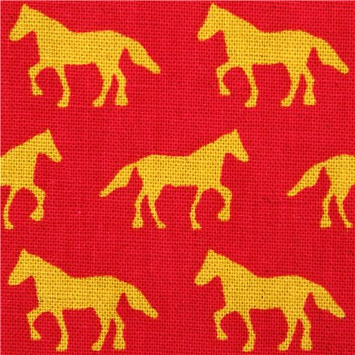 Red canvas animal fabric horse kokka japan animal fabric for Horse fabric for kids