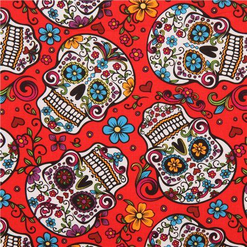 Tela Roja Calaveras Con Flores Folkloric Skulls Ee Uu Kawaii