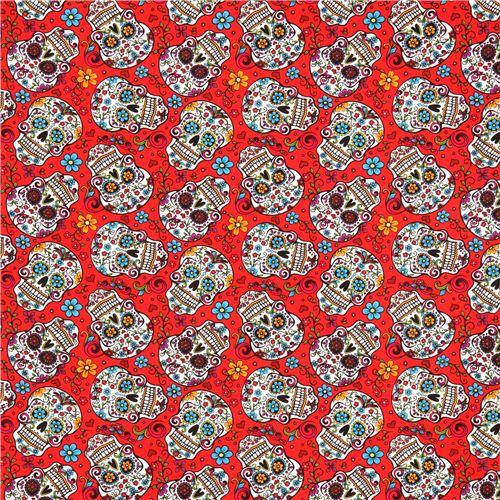 tissu folkloric skulls rouge avec des t tes de mort fleurs kawaii fabric shop. Black Bedroom Furniture Sets. Home Design Ideas
