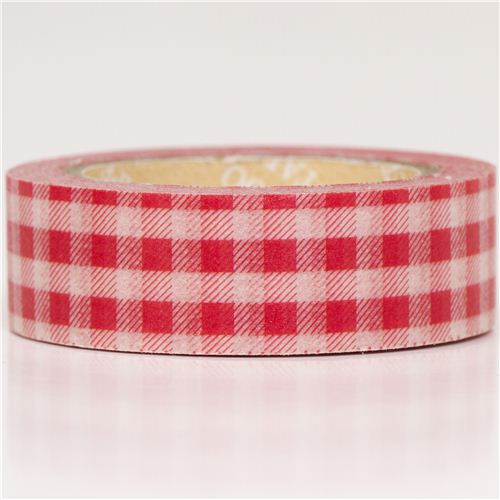red gingham washi tape deco tape washi tape decorative tape stationery kawaii shop modes4u. Black Bedroom Furniture Sets. Home Design Ideas