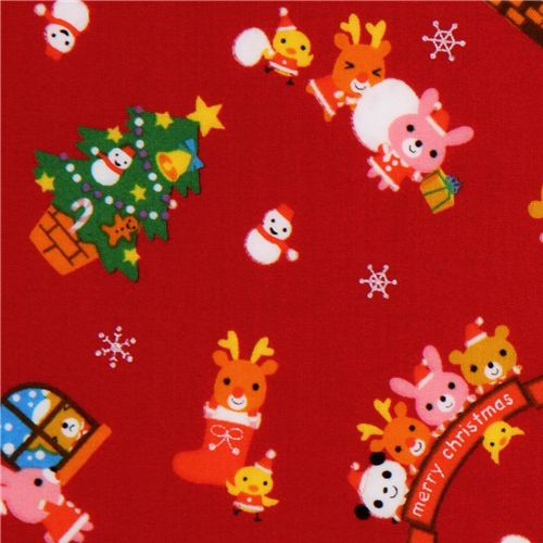 Roter Kawaii Weihnachtsstoff Panda Weihnachtsmann