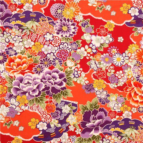 tissu kokka japon rouge et orange avec des fleurs. Black Bedroom Furniture Sets. Home Design Ideas