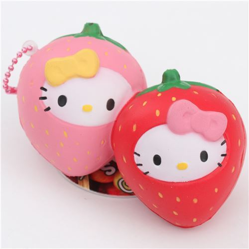 Squishy Collection Hello Kitty : red pink Hello Kitty strawberry squishy charm - Food Squishy - Squishies - Kawaii Shop modeS4u
