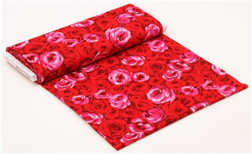 red roses blossom flower fabric lana michael miller usa 7 - Lana Fabric