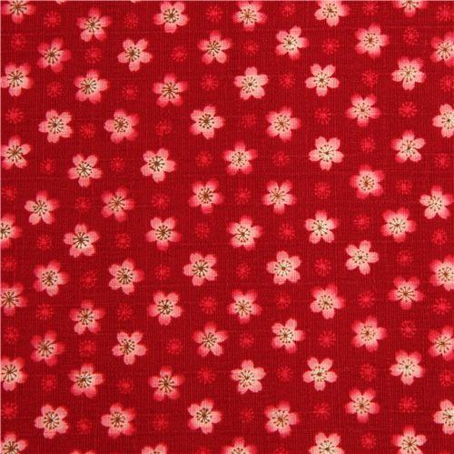 Tela roja con textura y flores de cerezo de cosmo telas - Telas con motivos infantiles ...