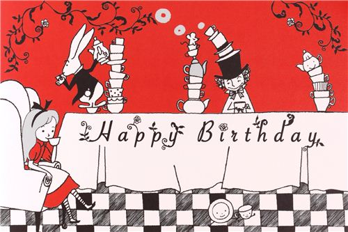Red White Alice In Wonderland Fairy Tale Postcard Birthday Card From
