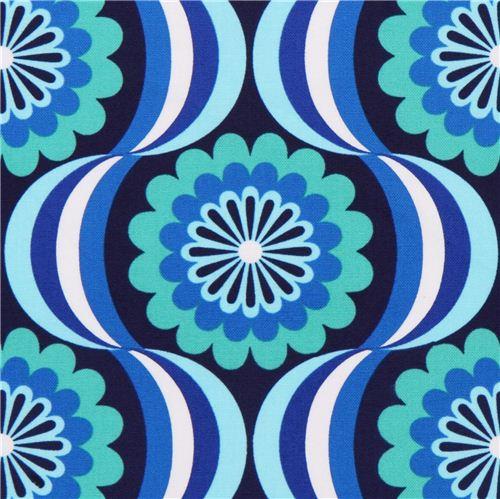 retro blumen canvas stoff blau robert kaufman blumenstoffe stoffe kawaii shop modes4u. Black Bedroom Furniture Sets. Home Design Ideas