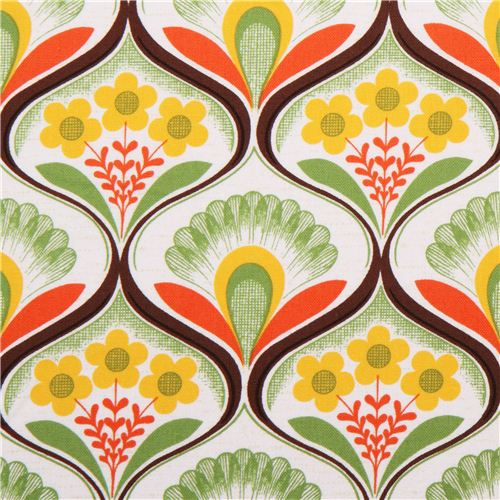 Toile Papier Peint Retro A Fleurs Vertes Par Robert Kaufman Tissus