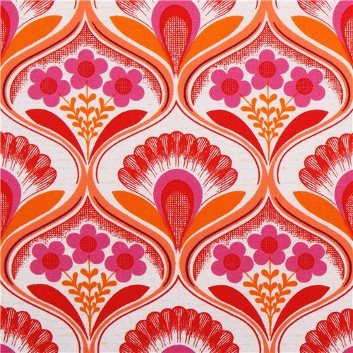 retro blumen tapete canvas stoff pink robert kaufman blumenstoffe stoffe kawaii shop modes4u. Black Bedroom Furniture Sets. Home Design Ideas