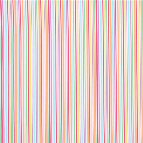 Rose Pinklight Blue Lime Green Colorful Stripe Fabric Michael Miller 2