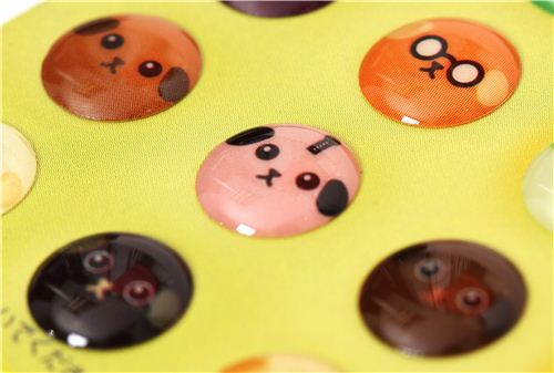 Round mameshiba bean dog epoxy stickers button stickers 3