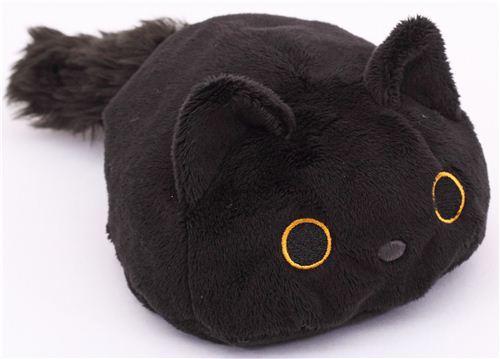 Round Black Kutusita Nyanko Cat Plush Toy Stuffed