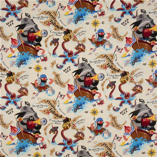 Sand alexander henry pirate fabric pirate island sailor for Kids pirate fabric