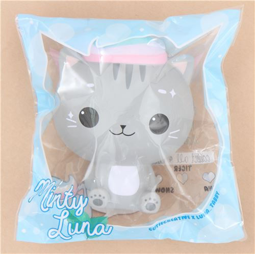 Squishy Cat Accessory : scented jumbo grey cat Minty Luna squishy by Cutie Creative - Animal Squishy - Squishies ...