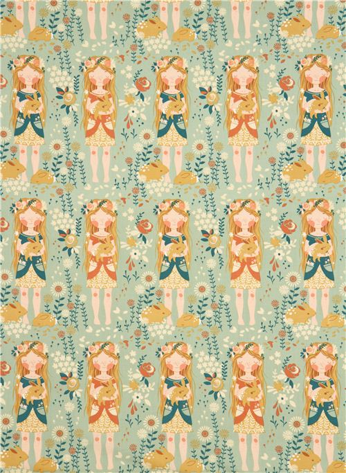 Sea green flower girl organic fabric birch fort firefly for Children of the sea fabric