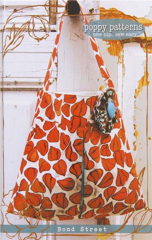 sewing pattern for handbag and tote bag with flower pin - Sewing ...