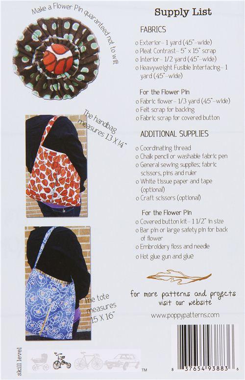 Patrones de costura para bolso y bolso de mano con flor-pin ...