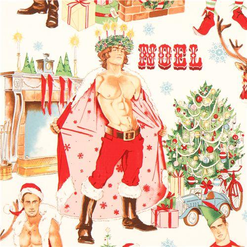 Tessuto Natalizio Babbo Natale Sexy Pin Up Alexander Henry