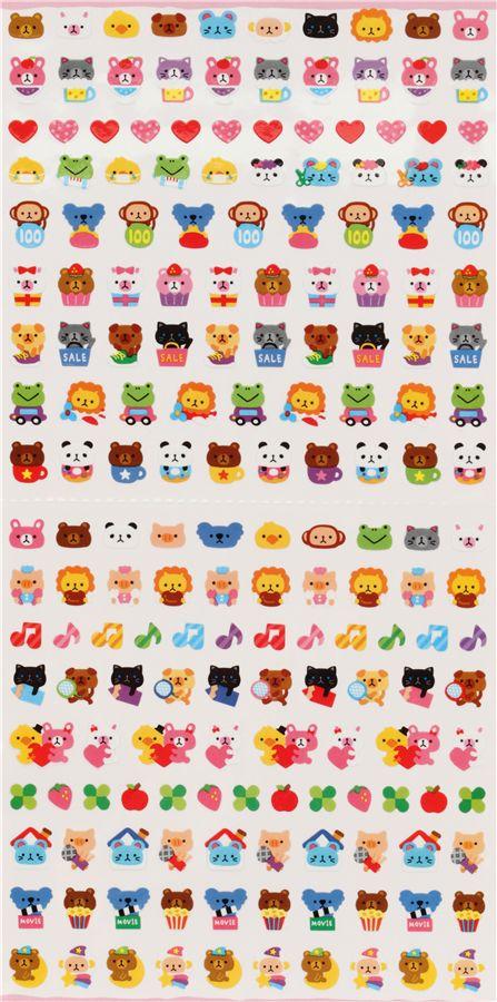 kleine tier-sticker kawaii aufkleber aus japan - sticker bl u00e4tter - sticker
