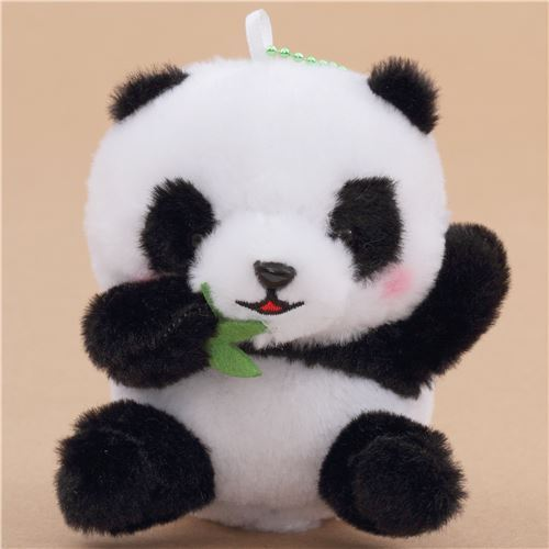 Small Black White Panda With Green Leaves With Chain Squeaky Plush
