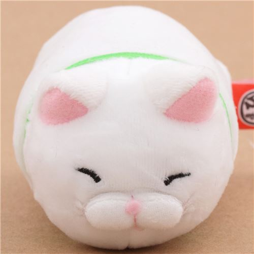 Small Funny White Cat Green Collar Hige Manjyu Plush Toy From Japan