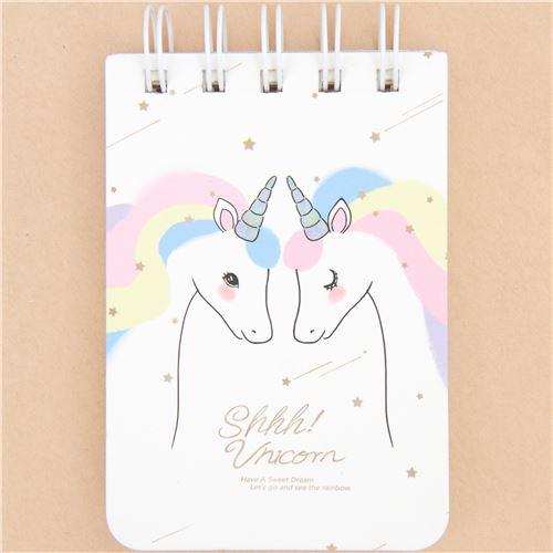Quaderno Ad Anelli Bianco Unicorno Negozio Kawaii Modes4u