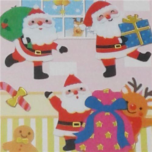 Pegatinas Navidenas Pequenas De Colores Con Papa Noel Y Renos