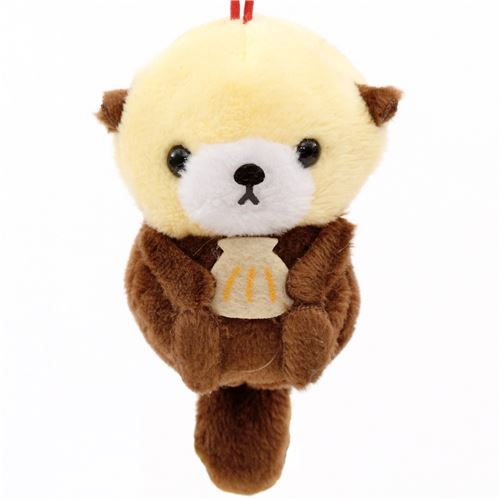 Soft Cream And Dark Brown Sea Otter Puchimaru Plush Charm Phone