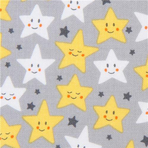 star yellow white Robert Kaufman grey fabric Daydreamer - Children ...