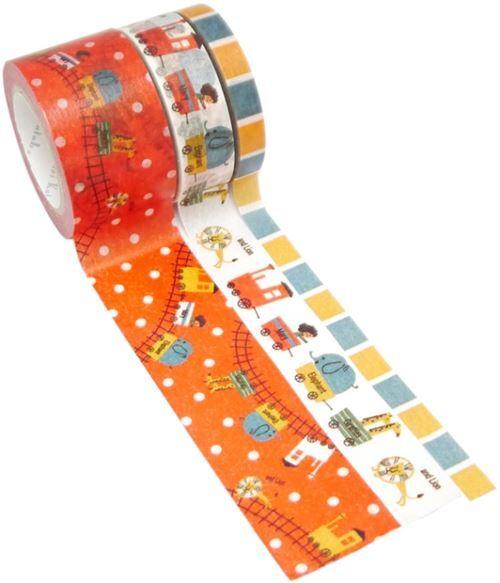 Set nastri adesivi washi strisce animali treno 3pz shinzi katoh set di nastri decorativi - Nastri decorativi natalizi ...