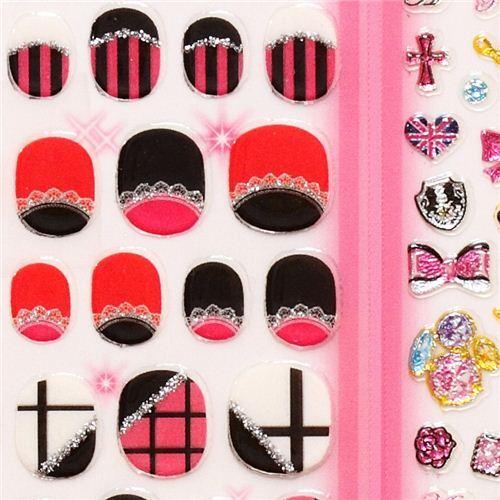 stripe crown lace fingernail glitter stickers Japan - modeS4u