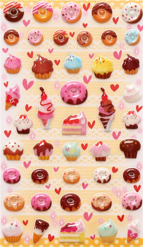 Sweets donut ice cream 3d stickers from japan 2