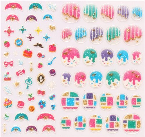 sweets dots pattern fingernail glitter stickers from Japan - modeS4u