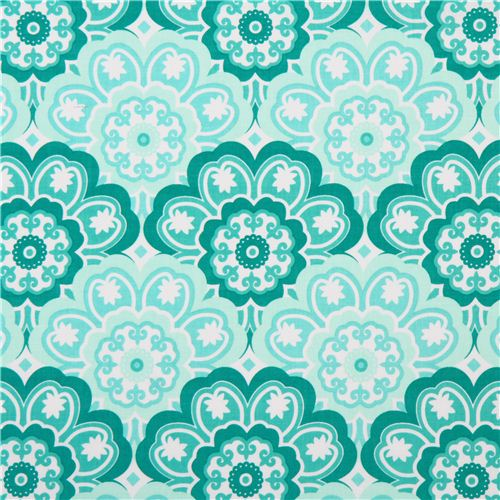 Teal And White Flower Ornament Fabric Blossoming By Michael Miller Usa 2