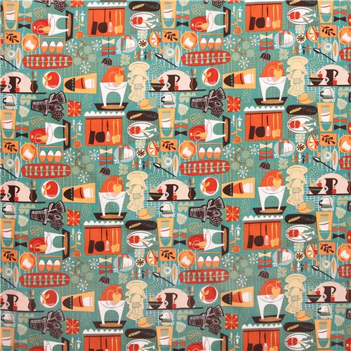teal cup dishes kitchen fabric Kitschy Kitchen USA, Food Fabric ...