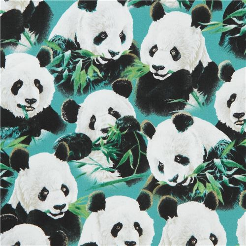 teal fabric with cute panda animal Quilting Treasures - Animal ... : quilting treasures - Adamdwight.com
