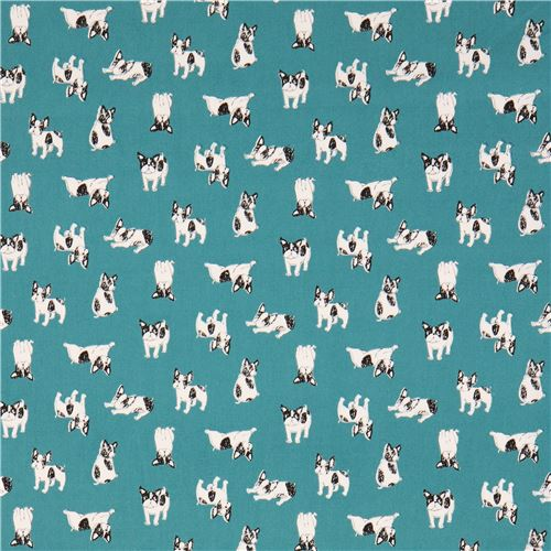 Teal With Black White Dog Animal Oxford Fabric From An 2